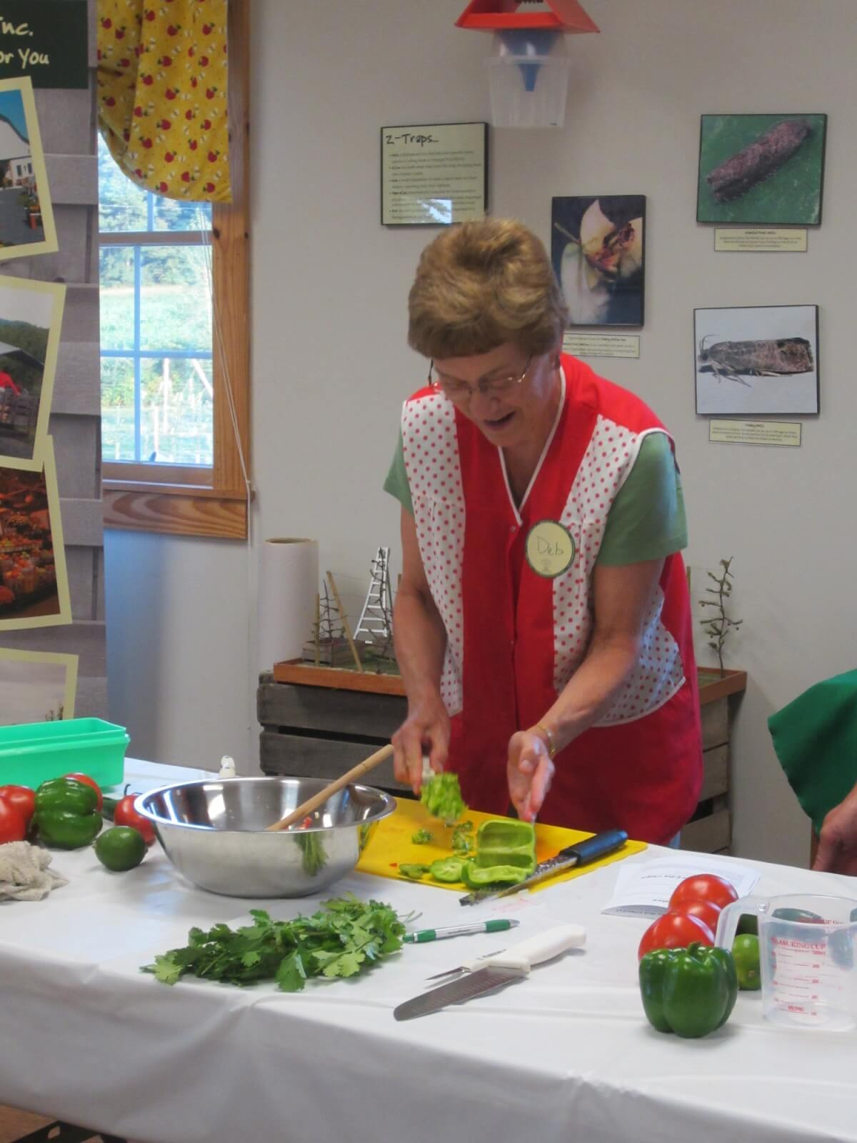 Woman making salsa