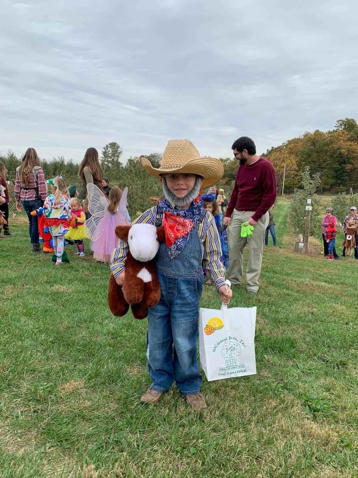 Boy dressed as a farmer