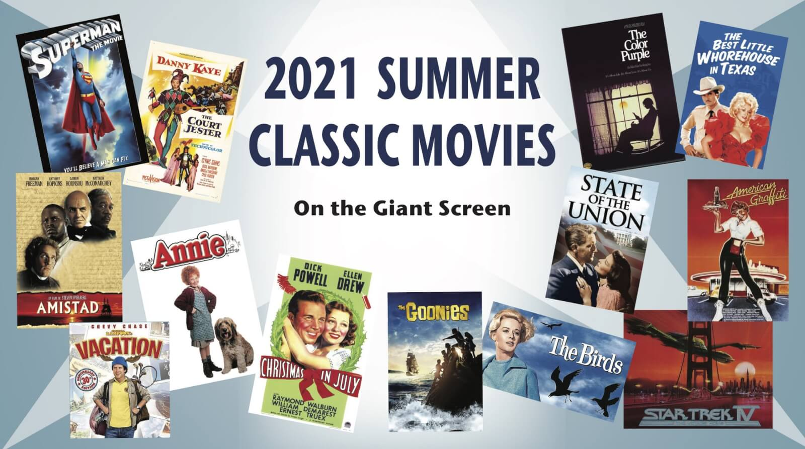 Image showing film posters of featured summer classic movies at the Majestic Theater