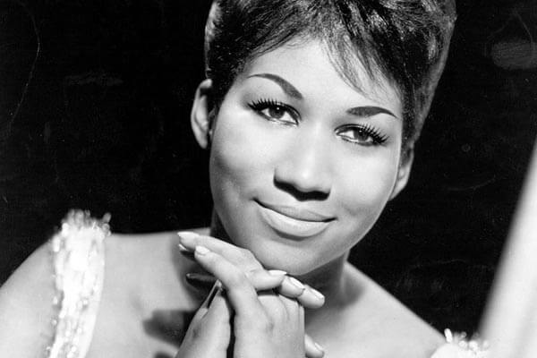 Black and white photo of Aretha Franklin