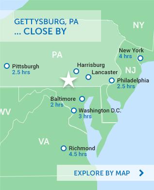 Region map of Gettysburg, PA