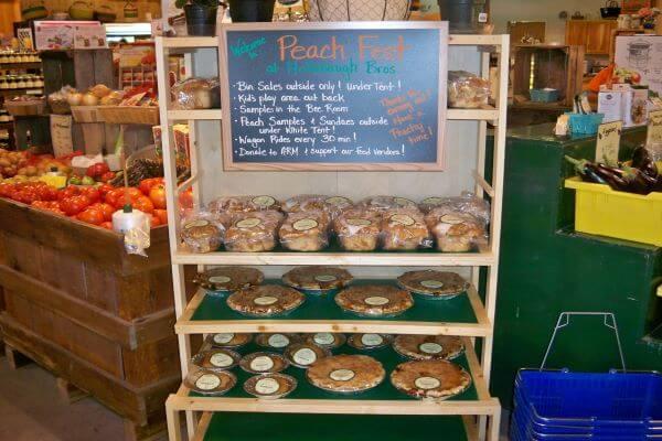 peach baked goods display
